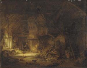 Interieur van een schuur