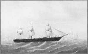 Zr. Ms. schroefstoomschip Tromp nabij de Falklandeilanden, 6 februari 1884