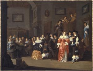 Elegant gezelschap in een interieur met muzikanten