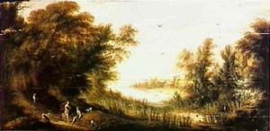 Boslandschap met Diana en een nimf, rustend tijdens de jacht