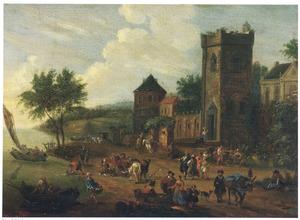 Reizigers, handelaars en herders bij een stadspoort op de oever van een rivier