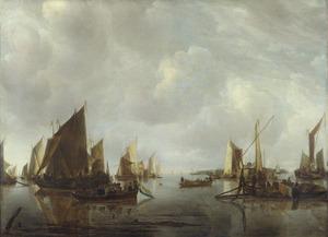 Riviergezicht met Hollandse schepen
