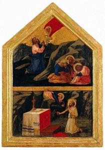 Christus in de Hof van Olijven, de boetvaardige H. Hiëronymus