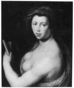 Portret van een vrouw, kijkend naar rechts, à l'antique met een papier in de hand (een sibille?)
