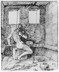 Naakte vrouw in interieur