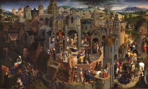 Panorama met de Passie van Christus met stichtersportretten van Tomasso Portinari en Maria Baroncelli