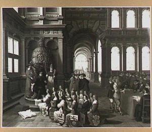 Allegorie de dwingelandij van de hertog van Alva: de Belgische gewesten onderwerpen zich, rechts de rechtspraak van de Raad van Beroerte en in de doorkijk de onthoofding van een rebel