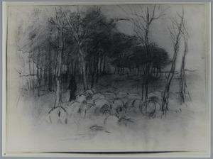 Schets van kudde schapen in boslandschap
