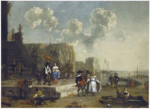 Gezicht op een zuidelijke haven met elegante figuren