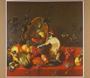 Aapje bij een omgevallen mand met vruchten