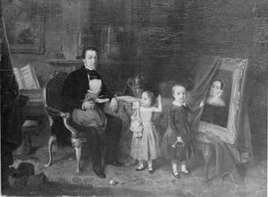 Familieportret van Hendricus Mattheus Antonius van der Ven (1810-1876) met zijn kinderen