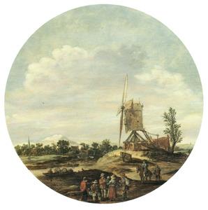 Landschap met boerengezelschap en een molen