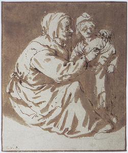 Vrouw die een kind aankleedt