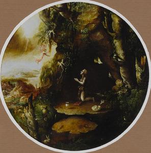 Een engel verschijnt aan de boetvaardige Maria Magdalena in de wildernis