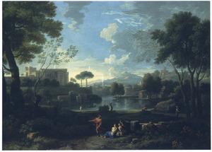 Zuidelijk landschap met ommuurd paleis en andere gebouwen bij een meer