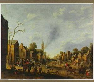 Landschap met plundering van een dorp