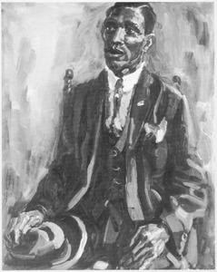 Portret van een zwarte man met hoed in de hand
