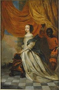 Portret van Hedvig Eleonora (1636-1689), met een bediende