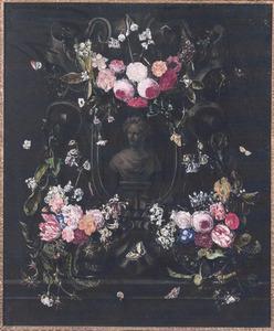 Bloemen rondom een nis met een borstbeeld van Flora
