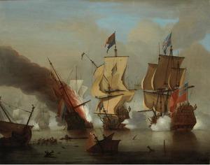 Zeeslag tussen Nederlandse en Engelse schepen