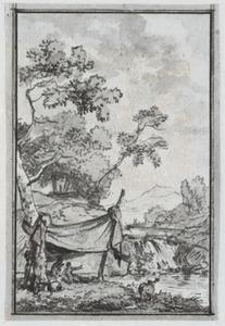 Landschap met figuren onder een tent bij een waterval