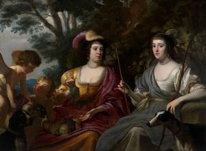 Dubbelportret van Amalia van Solms (1602-1675) en Charlotte de la Tremoille (?-1664)