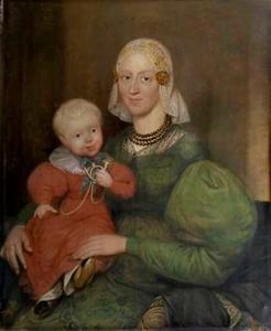 Portret van Ymkjen Hielkes Visser (1796-1867) met haar zoon Leeuke Ages Tromp (1834-1917)