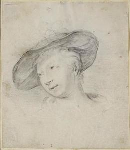 Kop van een vrouw met hoed