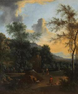 Italianiserend boslandschap met jagers