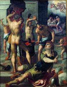 Apollo in de smidse van Vulcanus, de minnekozende Venus en Mars verradend