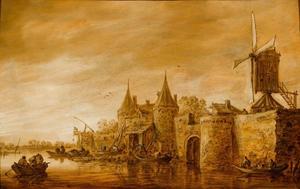 Versterkte stad met een windmolen  aan een rivier