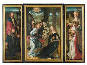 Herman Plonnies, raadsheer van Lubeck met de Heilige Mattheus (links); de Annunciatie (midden); Ida Greverade met de Heilige Catharina van Alexandrie (rechts); de Heilige Christopher met Christuskind (buitenzijde links); de Heilige Abt Antonius (buitenzijde rechts)