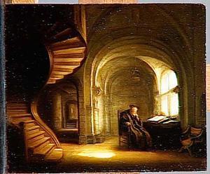 Filosoof met een open boek in studeervertrek