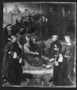 Christus in de Hof van Olijven met twee stichters en de HH. Petrus en Catharina. In de achtergrond het verraad van Judas