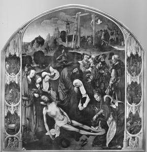 De bewening geflankeerd door de overige zes Smarten van Maria