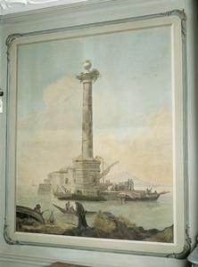 Zuid-europees havengezicht met zuil