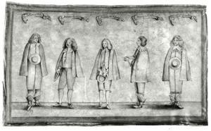 Groepsportret van Henri Charles de la Trémouille (1620-1672), Charles-François de Vieuville (?-1676) en drie onbekende mannen