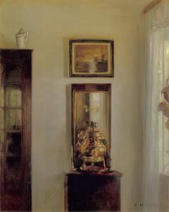 Interieur met samowaar, spiegel en Hollands landschap
