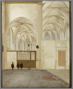 Interieur van de Janskerk te Utrecht, het transept met het koor en het noorderzijkoor, met de toegang tot de stadsbibliotheek
