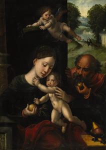 De Heilige Familie met een engel. In de achtergrond de vlucht naar Egypte