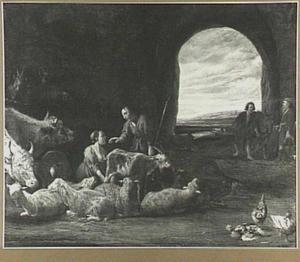Herders bij schapen, geiten en koeien, rechts een doorkijk naar een landschap