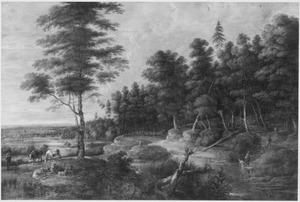 Heuvellandschap met herder en rustend vee