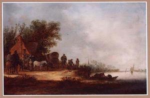 Landschap met reizigers bij een herberg bij een rivier