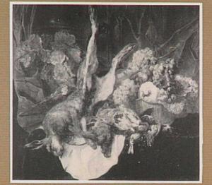 Stilleven van vruchten in een mand, een haas en gevogelte