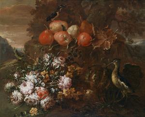 Bloemen- en vruchtenstilleven met Watersnip en IJsvogel