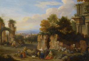 Italianiserend landschap met ruïnes en reizigers