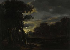 Bebost landschap bij nacht, met een roeiboot met figuren