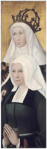 Portret van een stichtster met haar patroonheilige