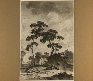 Landschap met herders bij een drenkplaats