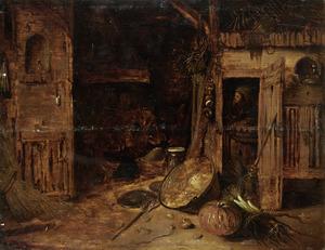 Stalinterieur met twee figuren en een klein groente stilleven in de voorgrond